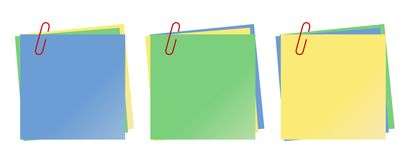 Note paper. Three sets of colorful note papers. Vector available Royalty Free Stock Photo