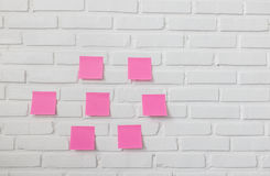 Note paper on white brick wall Royalty Free Stock Photo