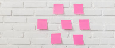 Note paper on white brick wall. Pink note paper stick on white brick wall Royalty Free Stock Photography