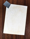 Note paper on wood background Stock Photography