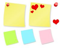 Note papers 01. Post it papers isolated on white background Royalty Free Stock Images