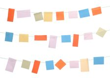 Note papers. Set of colored sticky notes hanging on wire (isolated on white background Stock Photo