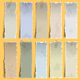 Note papers. Collection of  vertical old note papers Stock Images