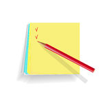 Note papers. On white background, a red pencil for notes Royalty Free Stock Images