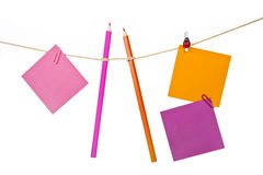 Note papers and colorful pencils on the rope Royalty Free Stock Image