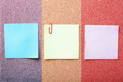 Note papers on cork board Stock Photo