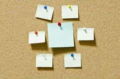 Note papers on cork board Stock Images