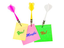 Note papers and darts arrows Royalty Free Stock Photos