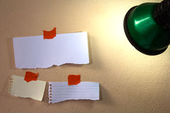 Note papers and lamp Royalty Free Stock Photo