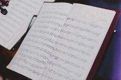 Note papers on music note stand Royalty Free Stock Photography
