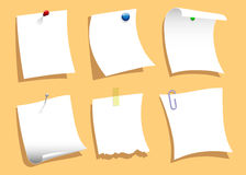 Note Papers Pinned Set Stock Photo