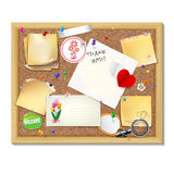 Note papers with pins and paper clips on cardboard background. Royalty Free Stock Images