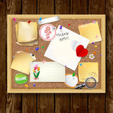 Note papers with pins and paper clips on cardboard wood backgrou Stock Images