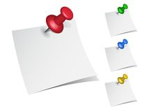 Note papers with push pins Stock Photo