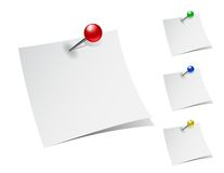 Note papers with push pins Royalty Free Stock Image