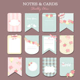 Note papers and stickers set. Different note papers and stickers set isolated. shabby chic Royalty Free Stock Photo