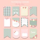 Note papers and stickers set. Different note papers and stickers set isolated. shabby chic Stock Photos
