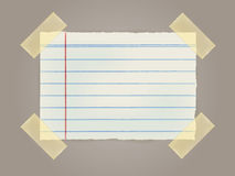Note Papers with a sticky tape stuck to the wall. Vector File EPS10 Stock Images
