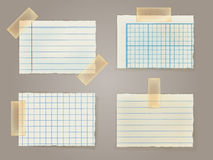 Note Papers with a sticky tape stuck to the wall Royalty Free Stock Photography