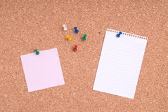 Note Papers With Tacks On Cork Stock Image