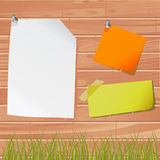 Note papers on the wooden wall. Note papers with wooden illustration vector stock illustration