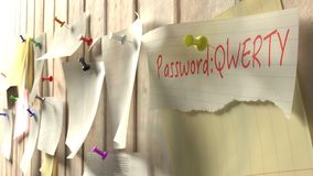 Note with password qwerty on a wooden kitchen wall. With pins cybersecurity 3D illustration Stock Photo