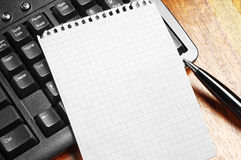 Note, pen and keyboard Royalty Free Stock Photography