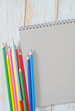 Note and pencils Royalty Free Stock Photo