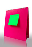 Note on pink calender. Green note on pink calender vector illustration