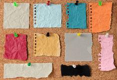 Note pinned to a cork board Royalty Free Stock Images