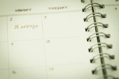 Note in planner for meeting Stock Photography