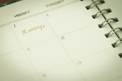 Note in planner for meeting Royalty Free Stock Images