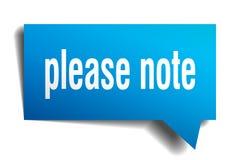 Note por favor a bolha azul do discurso 3d Ilustração do Vetor