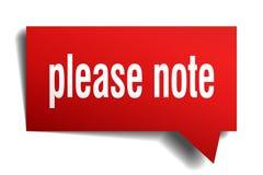 Note por favor a bolha vermelha do discurso 3d Ilustração Stock