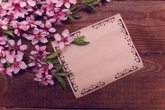 Note, postcard, writing retro peach blossoms on a wooden vintage royalty free stock image