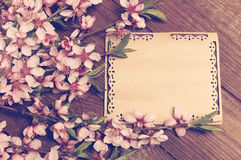 Note, postcard, writing retro peach blossoms on a wooden vintage stock images