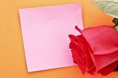Note with rose Stock Image