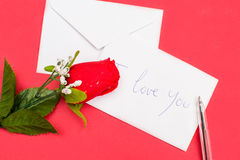 Note and rose Royalty Free Stock Images