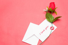 Note and rose Royalty Free Stock Photo