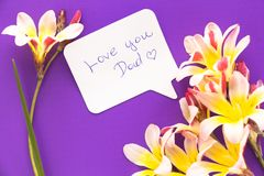 Note in shape of heart with words . Note in shape of heart with words `Love you Dad!` with flowers on purple surface Royalty Free Stock Photography