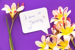Note in shape of heart with words . Note in shape of heart with words `I am sorry!` with flowers on purple surface Stock Images