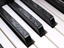 Note sheet reflection on piano keys royalty free stock image