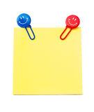 Note with smiling paper clips stock photography