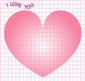 Note square grid design I love you for Valentine for printing design on theme Valentine`s Day with big heart. Vector grid. Note square grid design I love you for Stock Photo
