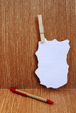 Note stick on wooden wall Stock Photography