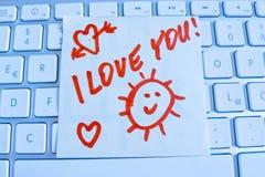 Note sur le clavier d'ordinateur je t'aime Photographie stock