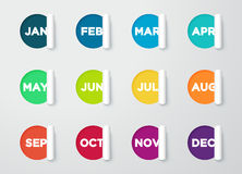 Note tagliate carta del cerchio con i mesi per il calendario Immagini Stock