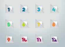 Note tagliate della carta quadrata con i numeri per il calendario 1 a 12 a Immagini Stock Libere da Diritti