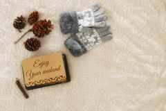 Note with text: ENJOY YOUR WEEKEND and woolen gloves over cozy and warm fur carpet. Top view Royalty Free Stock Photos