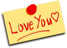 Note with text Love you Stock Images